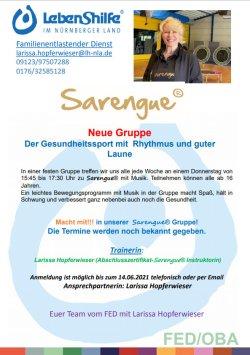 SARENGUE: FESTE GRUPPE MIT NEUEM ANGEBOT In einer festen Gruppe treffen wir uns jede Woche an einem Donnerstag von 15:45 bis 17:30 Uhr zu Sarengue® mit Musik.