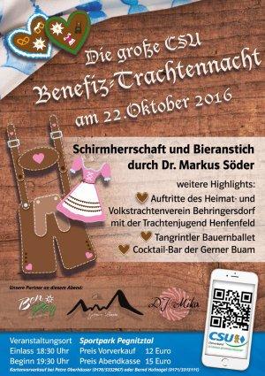 Einladung zur großen Benefiz-Trachtennacht der CSU im Sportpark Pegnitztal am 22.10.2016 zu Gunsten der Lebenshilfe Nürnberger Land e. V.