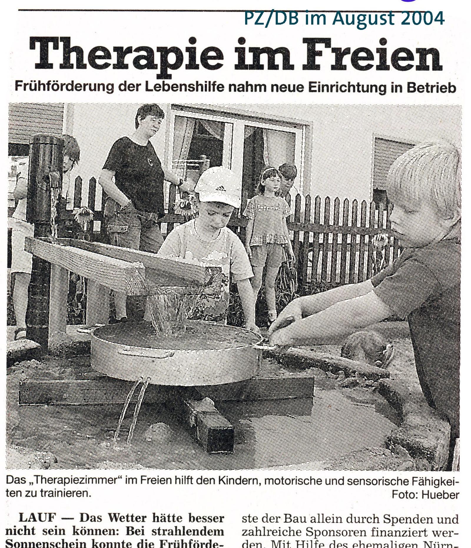 """Archiv der Lebenshilfe Nürnberger Land, 2004, """"Therapie im Freien"""""""