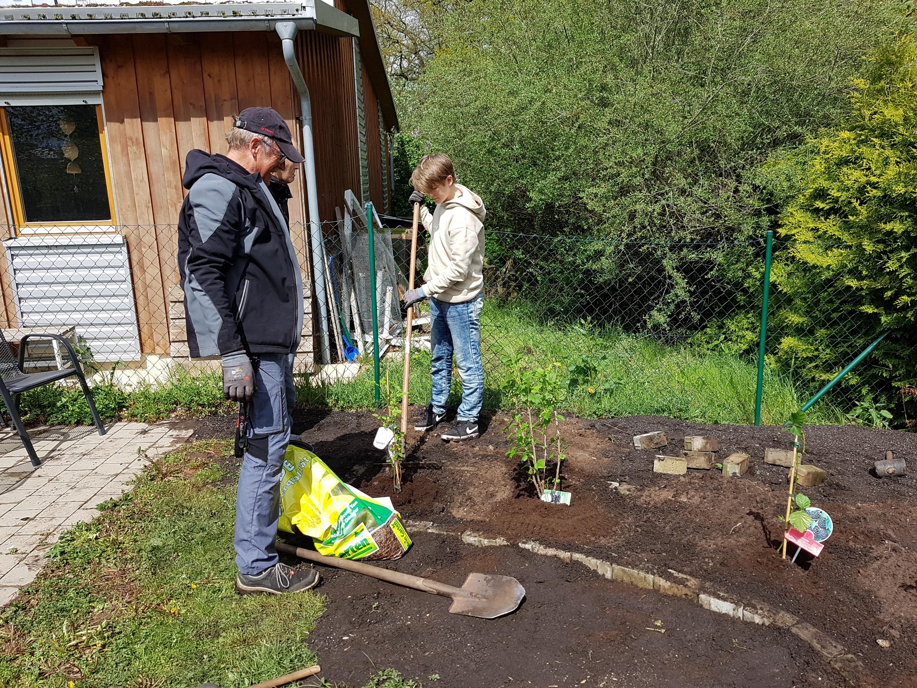 Beeren-starkes Engagement! St.-Otto-Firmlinge brachten, gemeinsam mit zwei ehrenamtlichen Helfern, den Wohnheim-Garten zum erblühen.