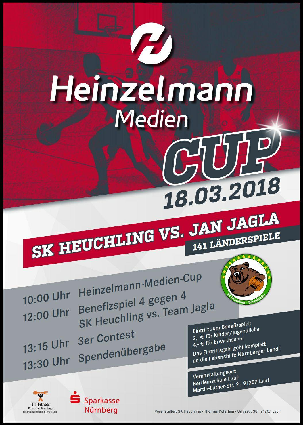 Basketball-Legende kommt nach Lauf: SK Heuchling vs. Jan Jagla – Einladung zum großen Benefiz-Heinzelmann-MedienCUP am 18.03.2018, 10 Uhr, Bertleinschule.