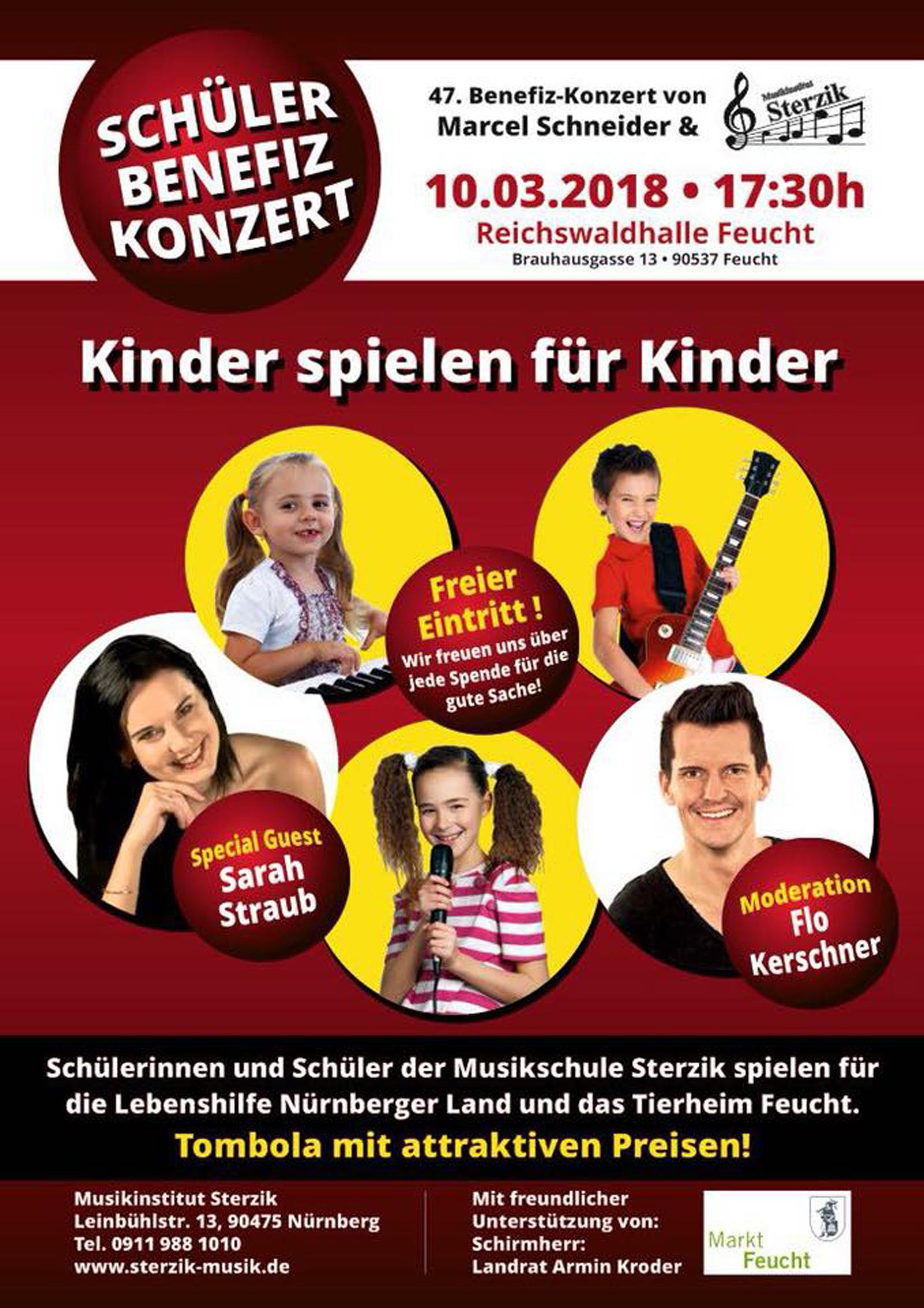 47. Benefizveranstaltung von Marcel Schneider, unterstützt durch die Musikschule Sterzik: 10.3.18, 17.30 Uhr, Feucht, Reichswaldhalle.
