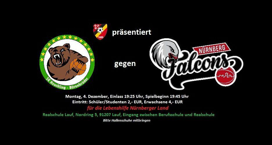 Die SK Heuchling Bärenbrüder treten am 4. Dezember 2017 gegen die Nürnberg Falcons der 2. Liga an! Alle Eintrittsgelder werden der Lebenshilfe Nürnberger Land gespendet!