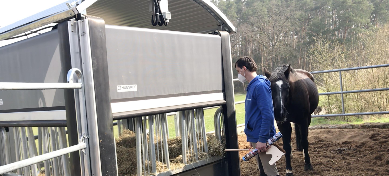 Dank der Heuraufe können die Pferde jetzt zu bestimmten Zeiten selbstständig Futter aufnehmen. Mitarbeiter Kristian Kekses erläutert das Angebot.