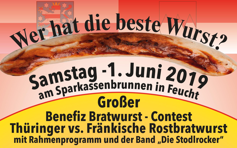 Einladung zur großen Bratwurst-Challenge: 1. Juni, Sparkassenplatz in Feucht. Cooles Rahmenprogramm. Erlös kommt der Lebenshilfe Nürnberger Land zu Gute. Schirmherr: Finanzminister Füracker.