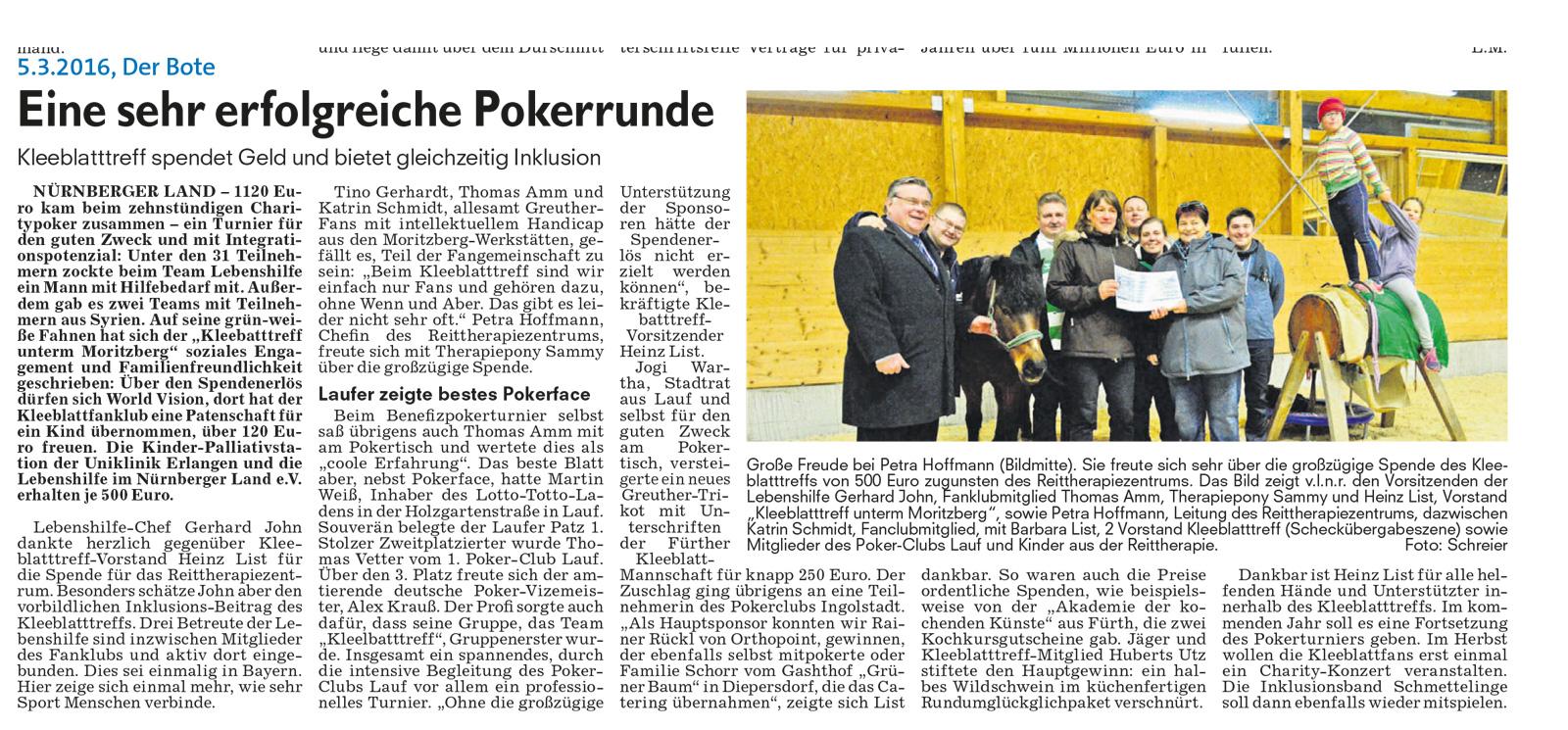 """Der Kleeblatttreff unterm Moritzberg e. V. initiert nun bereits das 3. Benefiz-Poker-Turnier. Die Lebenshilfe durfte sich schon über den Erlös des 2. Pokerturniers 2016 freuen, der zugusten des Reittherapiezentrums ging. """"Der Bote"""" berichtete darüber aus"""