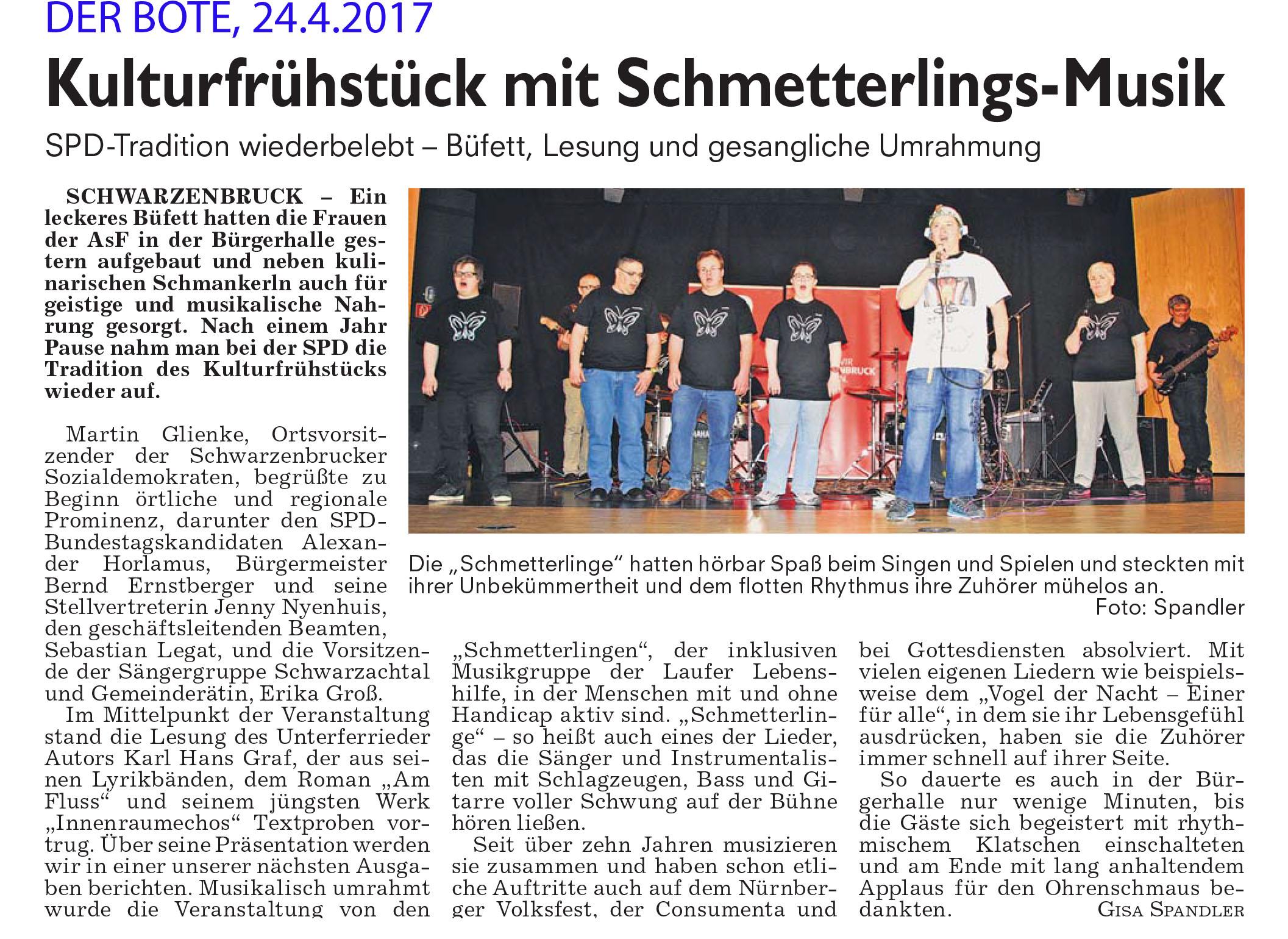 Der Bote, 24.4.17: Auftritt der Schmetterlinge beim SPD-Kulturfrühstück in Schwarzenbruck.