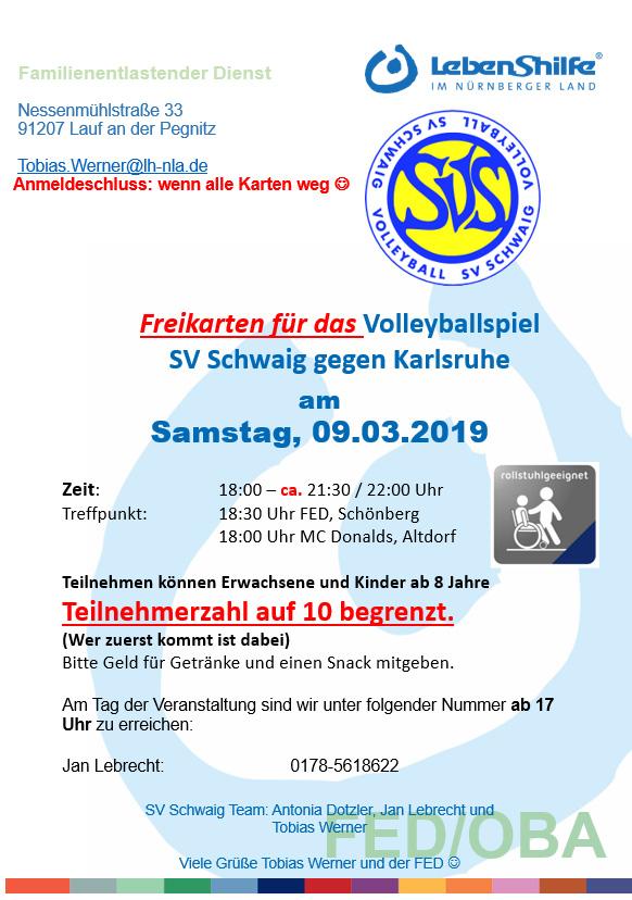 FED, Flyer zur Volleyball-Veranstaltung, 9.3.19
