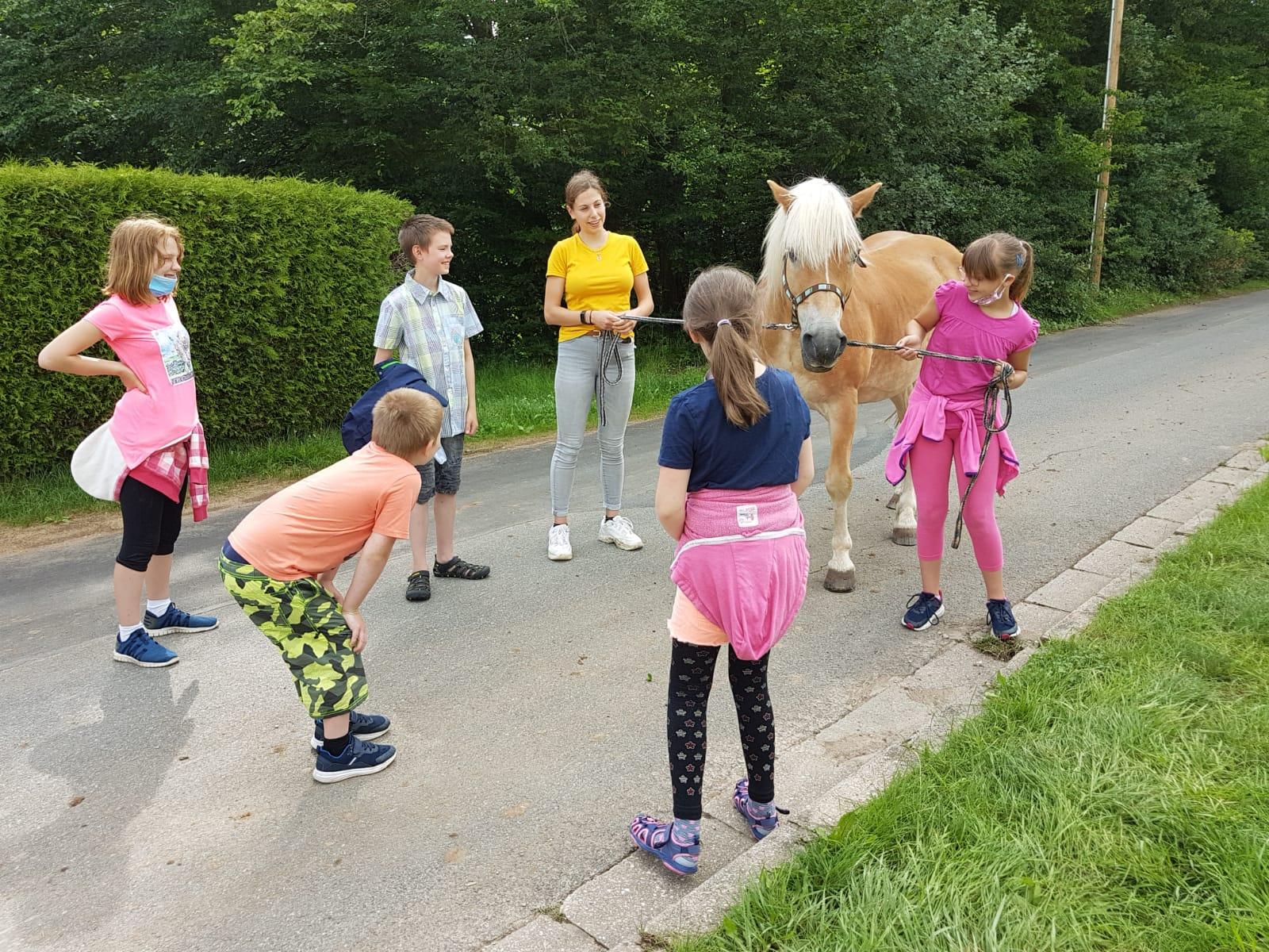 Tolle Aktion mit viel Eigeninitiative: Fsjlerin stellt hier den Kindern ihr Pferd vor.