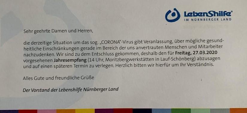 Abgesagt: Jahresempfang der Lebenshilfe Nürnberger Land (27.3.) wird aufgrund des grassierenden Corona-Virus verschoben.