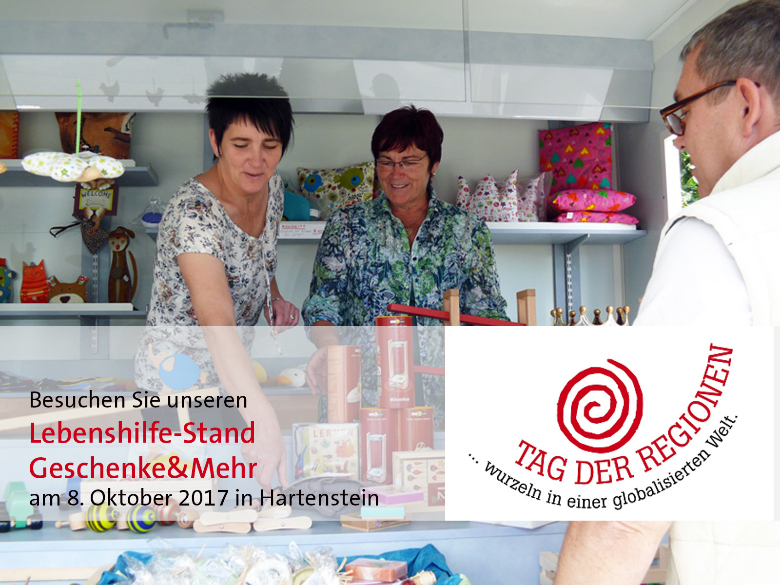 Am 8. Oktober 2017 ist Tag der Regionen in Hartenstein. Die Lebenshilfe Nürnberger Land e. V. präsentiert sich mit Verkaufsstand, Musikprojekt und Familienentlastungsdienst.