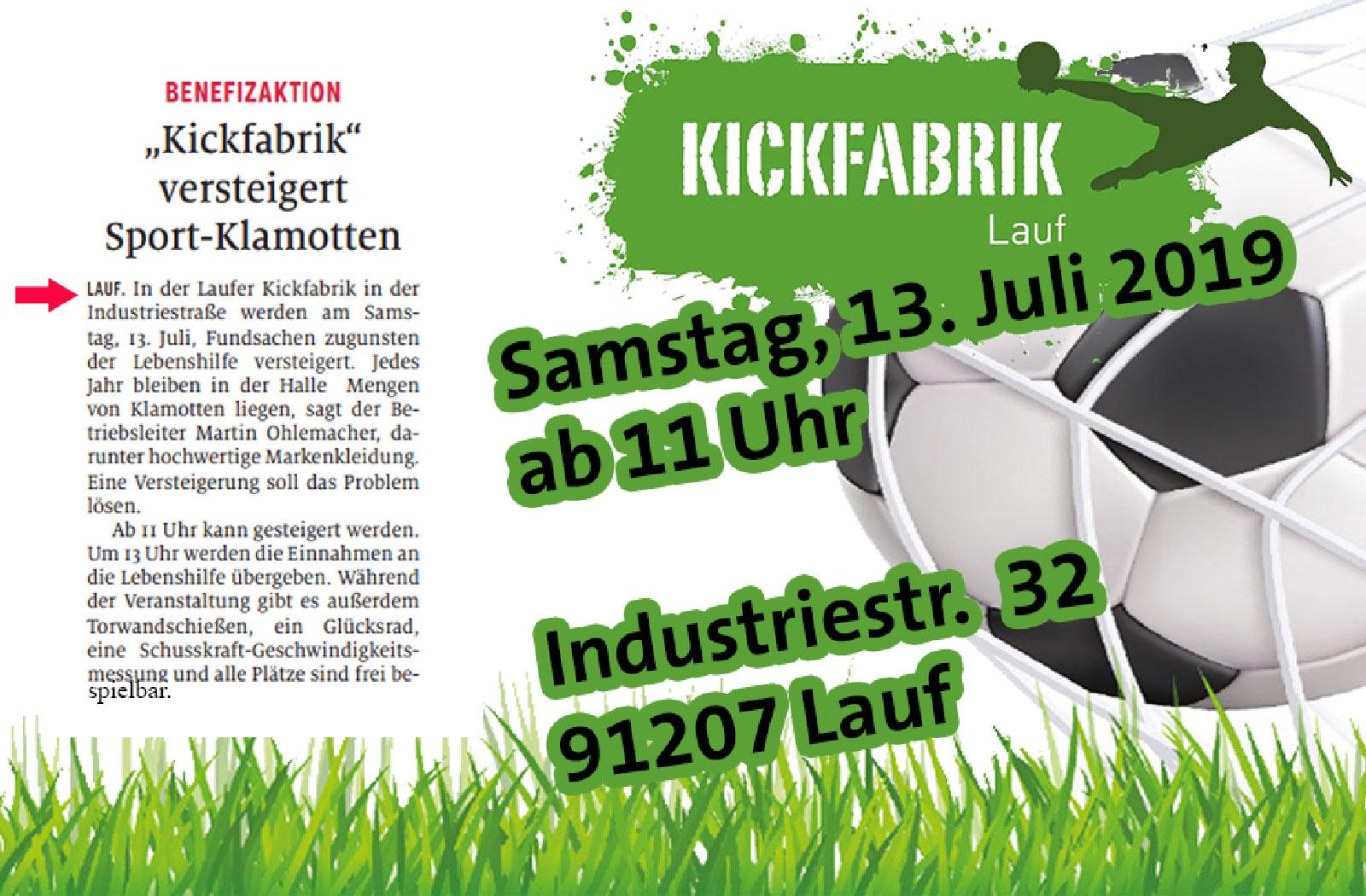 Die Kickfabrik Lauf versteigert liegengelassene Sportsachen: Benefizaktion mit sportlichem Rahmenprogramm zu Gunsten der Lebenshilfe Nürnberger Land e. V.