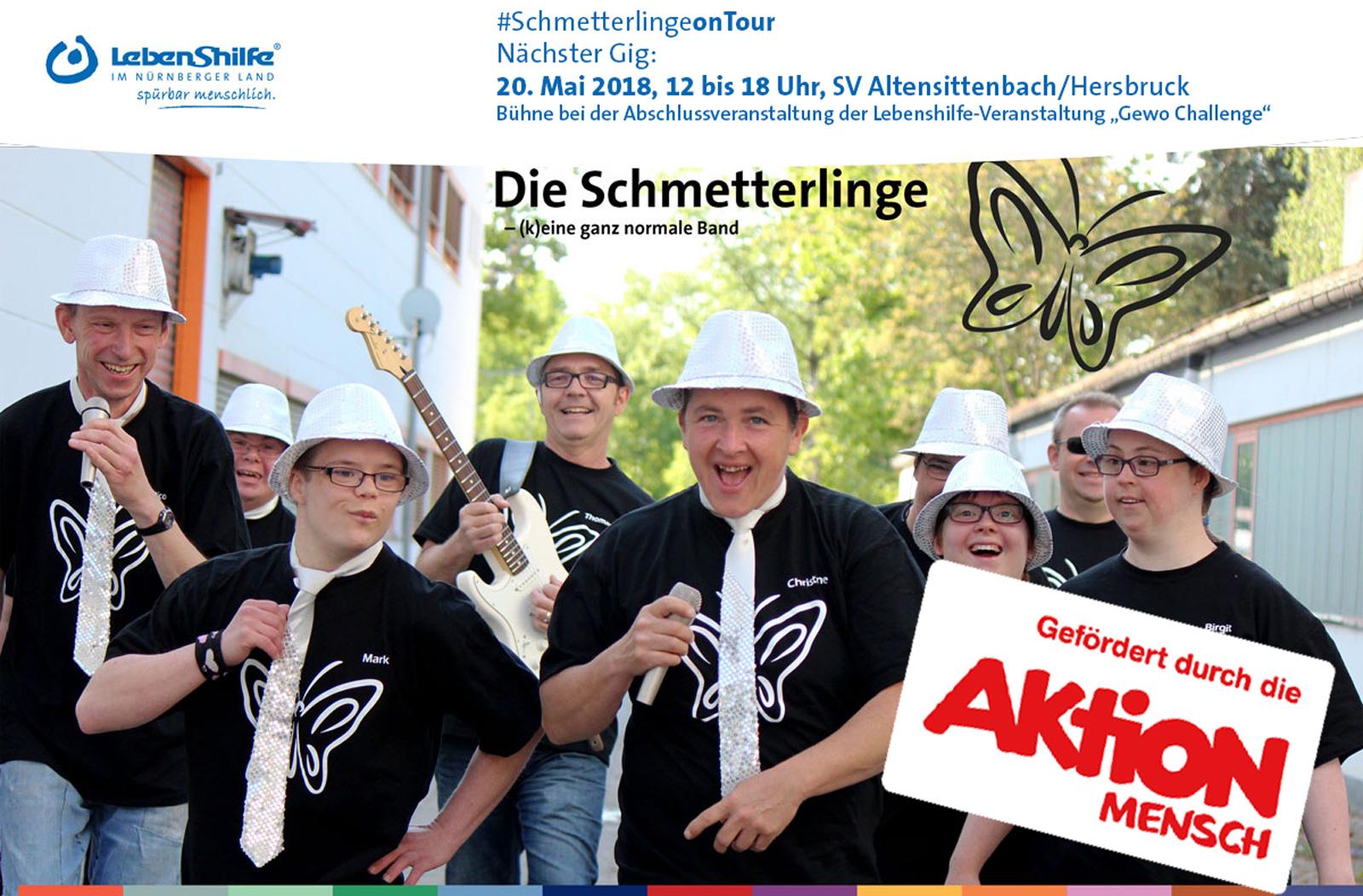 Inklusion zum Hören: Die Inklusionsband Schmetterlinge spielt bei der Abschlussveranstaltung Gewo-Challenge, 20.5. in Hersbruck.