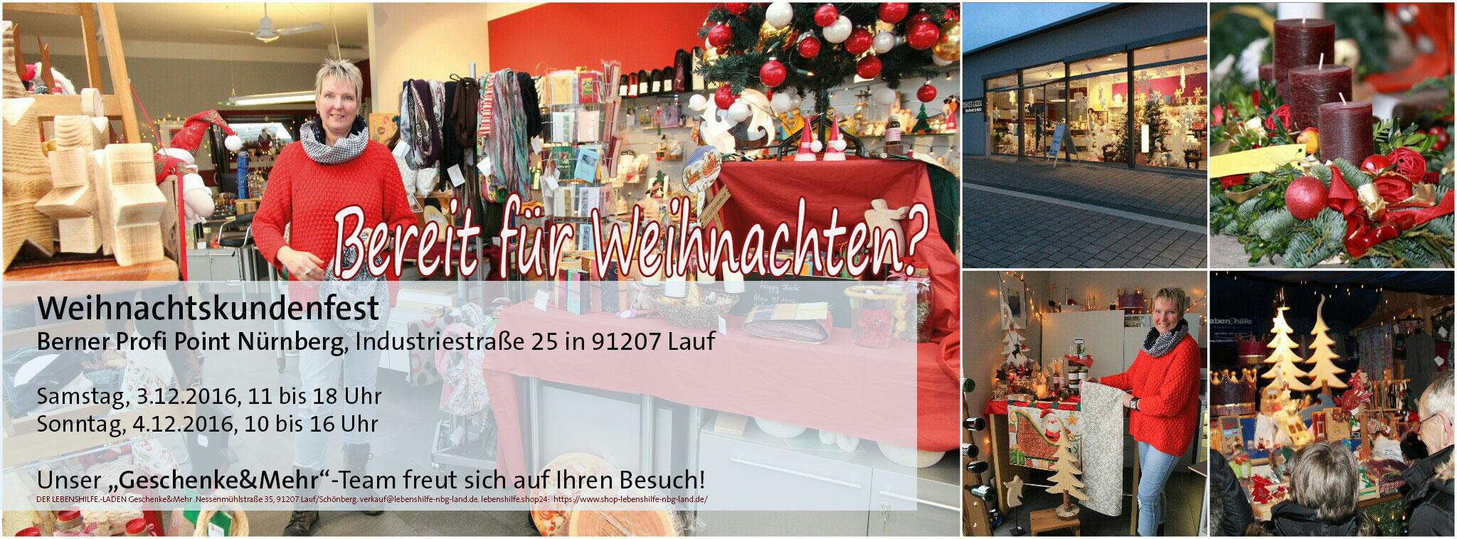 """""""Geschenke&Mehr""""-Team beim Kundenweihnachtsfest der Firma Berner, Profi Point Nürnberg in Lauf: 3./4.12.2016"""