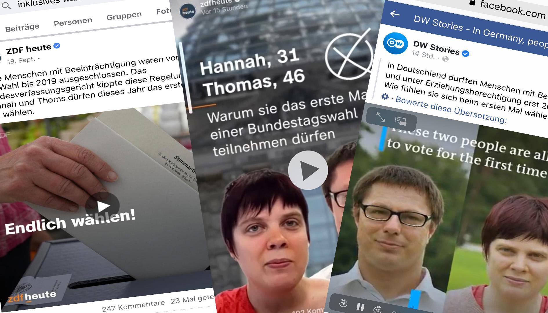 """ErstwählerIn Hannah Kauschke und Thomas Obst sprachen mit Reporterinnen des ZDFs und der DW vor der Bundestagswahl 2021 zum """"Inklusiven Wahlrecht""""."""