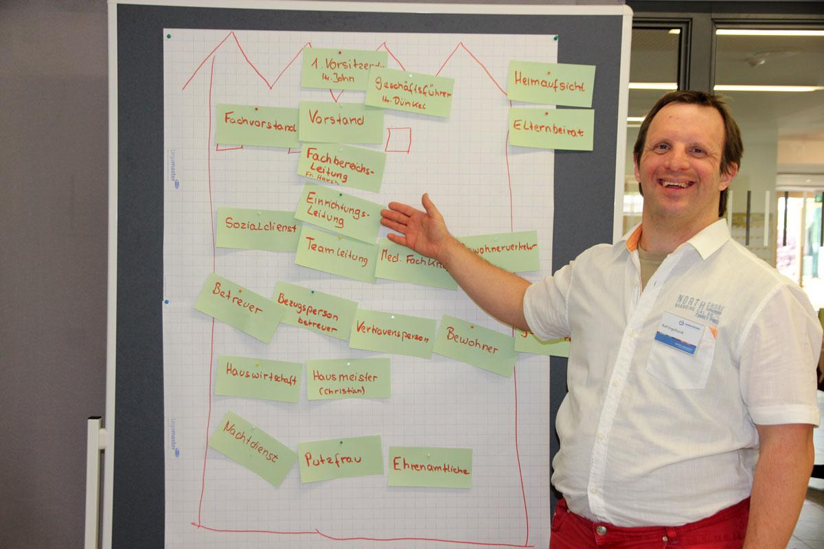 """Die Inhouse-Schulung der Lebenshilfe Bayern wurde von Bewohnervertretern und dem begleit. Sozialdienst sehr geschätzt. Bild: Bewohnervertreter Ralph Engelhardt hat aus der Schulung viele Anregungen für sein """"Amt"""" mitnehmen können."""