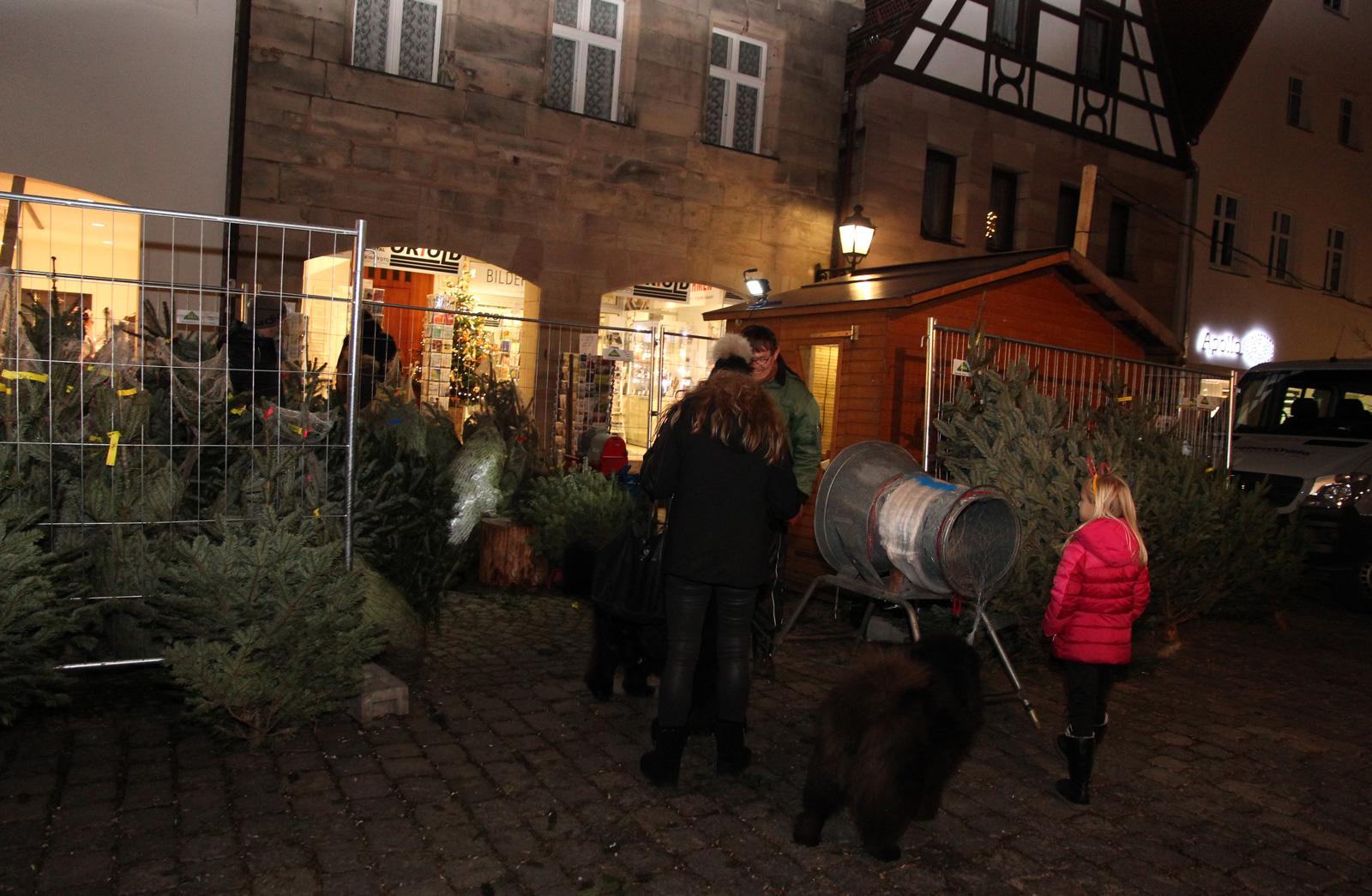 Inklusives Team mit German Zeltner und Johannes Schuster. Der Weihnachtsbaumstand der Moritzberg-Werkstätten am Laufer Weihnachtsmarkt hat Tradition.