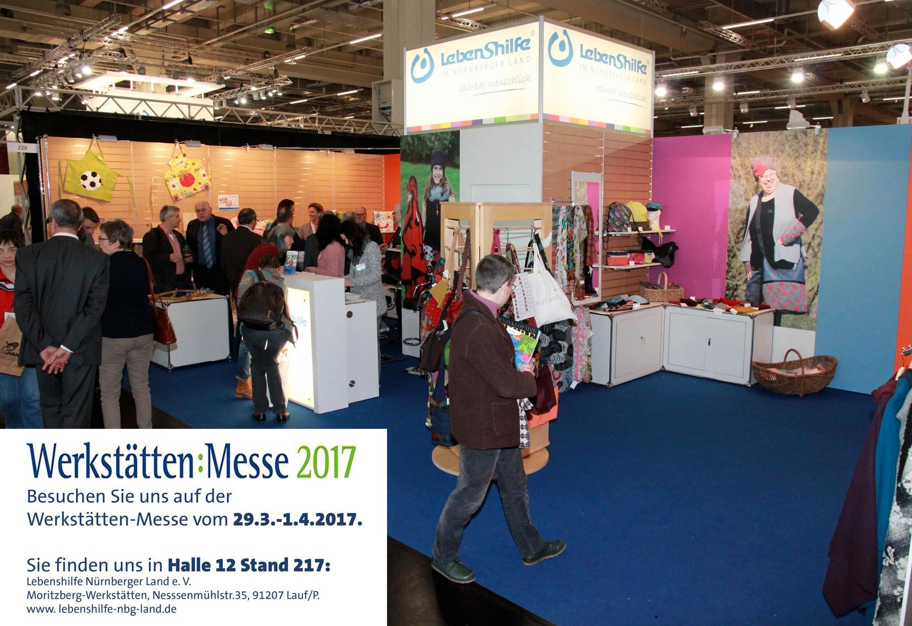 Werkstättenmesse in Nürnberg, 31.3.-1.4.2017 Bühne und Debüt für die neuen Marken moritz.kid und moritz.home. Messebild: Archiv Lebenshilfe.